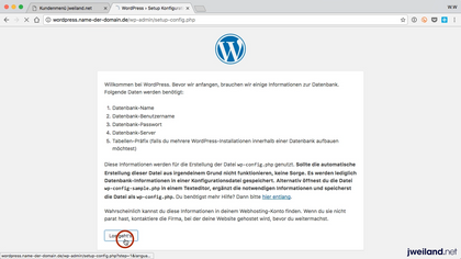 Subdomain im Browser aufrufen, WordPress-Installation startet