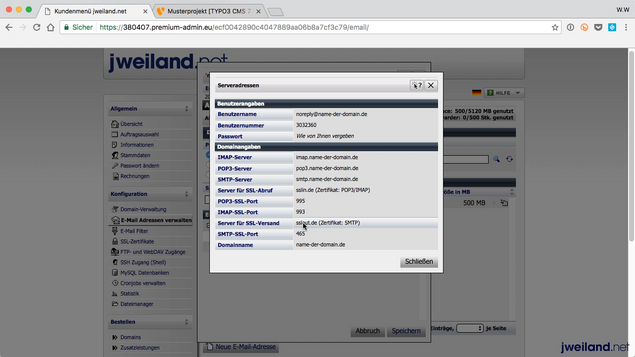TYPO3: Mailversand per SMTP einrichten - jweiland.net