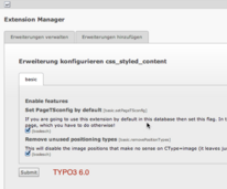 Position des Buttons in TYPO3 6.0