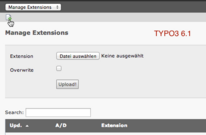 Upload einer Extension in TYPO3 6.1