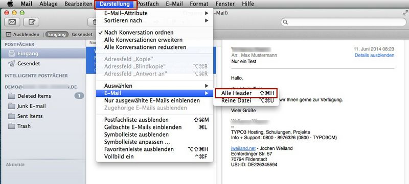 apple mail nur kopfzeilen